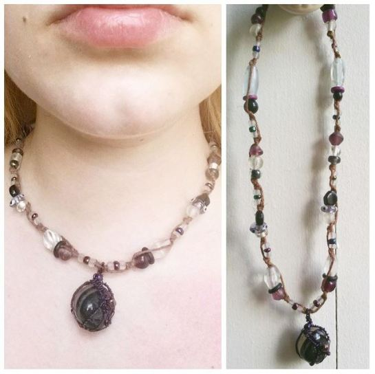 purple wrapped rock necklace